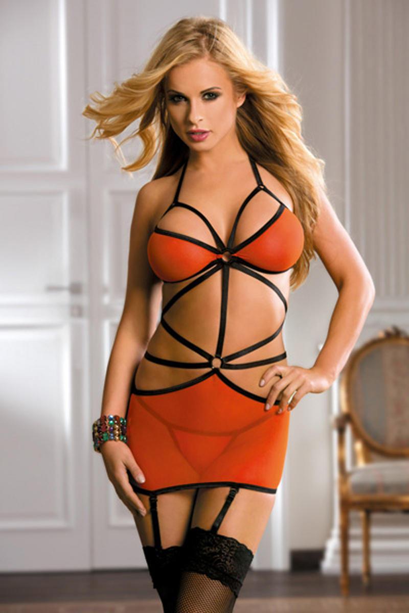 Garter Lingerie Set Orange cut-out spaghatti strap back tied ring link stocking H2049 seductive garter thong Sunspice 31025