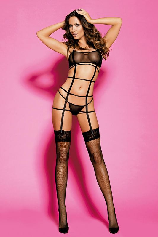 Garter Lingerie Set Women sexy  black sheer mesh halter adjustable hook&eye back closure  cages  G-string  stockings H2049 gaeter set lingerie Sunspice 31070
