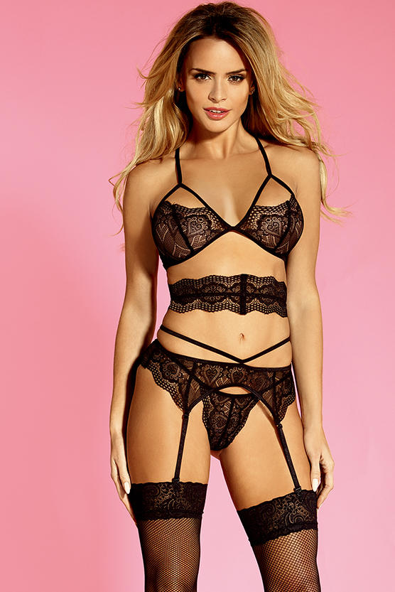 Garter Lingerie Set This lace bra and panty strappy lingerie set featuring stunning floral eyelash lace strappy bra front keyhole detail, adjustable shoulder criss-cross straps, and hook & eye back closure,adjustable waist cinchers. Matching garter belt