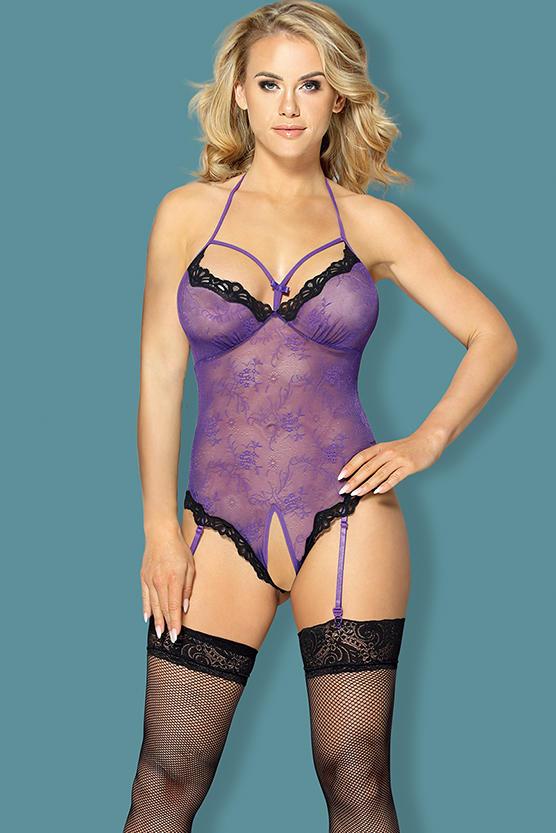 Garter Lingerie Set purple open crotch lace teddy with garter, matching stocking H2049 Sunspice 31113