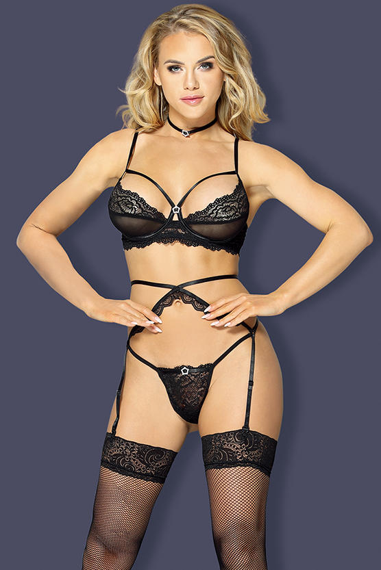 Garter Lingerie Set Jewery decorated neck tie,lace bra, G-string with garter and stocking H2049 Sunspice 31114