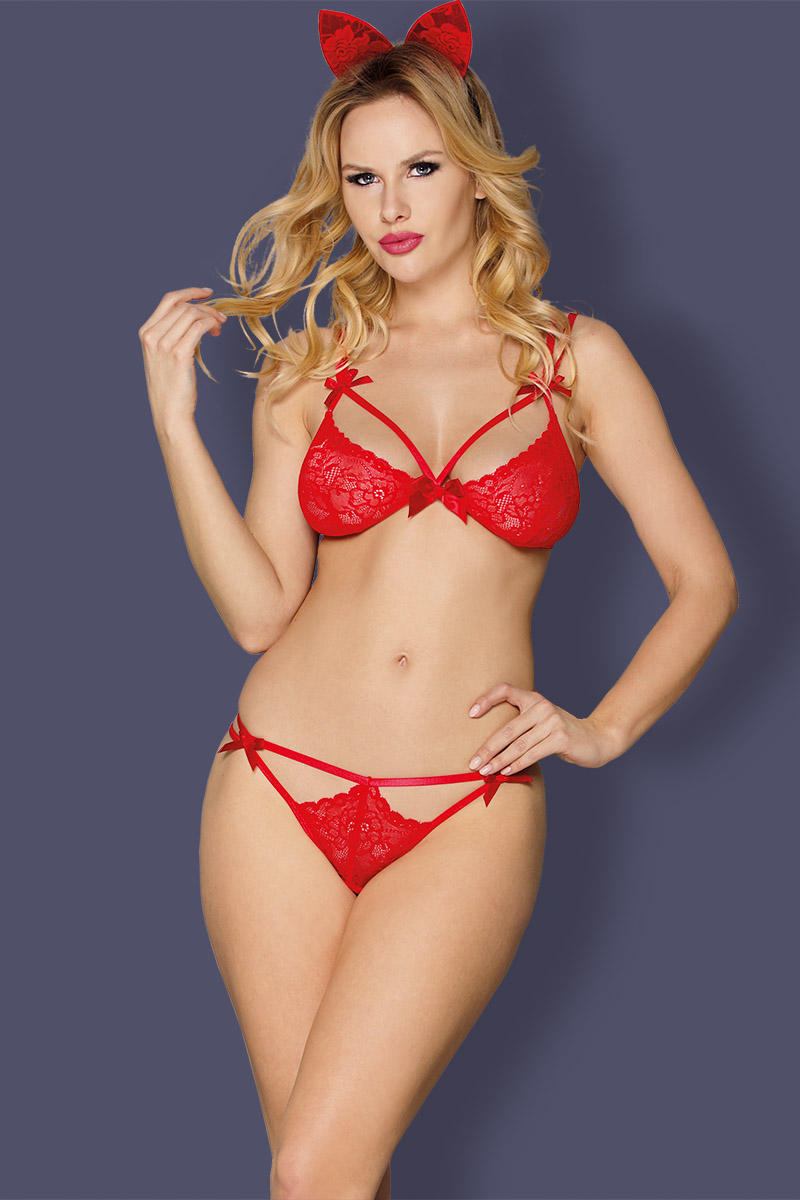 Lingerie Sets women red Floral Lace bow  adjustable straps  hook & eye closure bra and cut-out panty, headpiece included  match set intimate lingerie Sunspice 52774