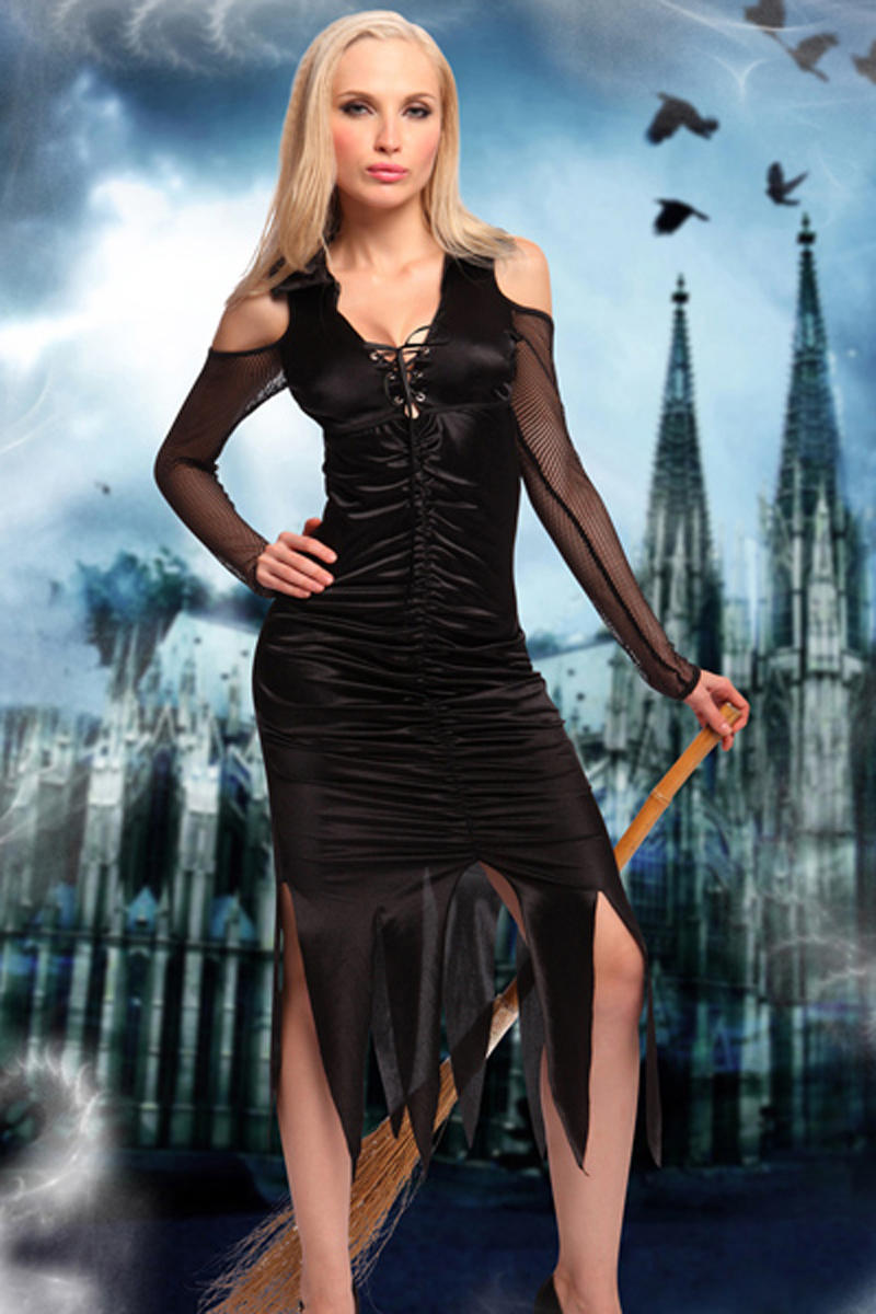 Sexy Halloween Costume Black deep v-neck perforated knot front fold design cut out mesh long sleeve dress hemline triangle cut open mature halloween costume Sunspice 81080