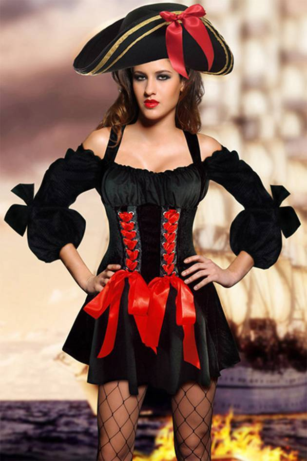 Sexy Pirate Costume Black boat neck long sleeve bows without hat necklace stocking pirates costumes Sunspice 80990.
