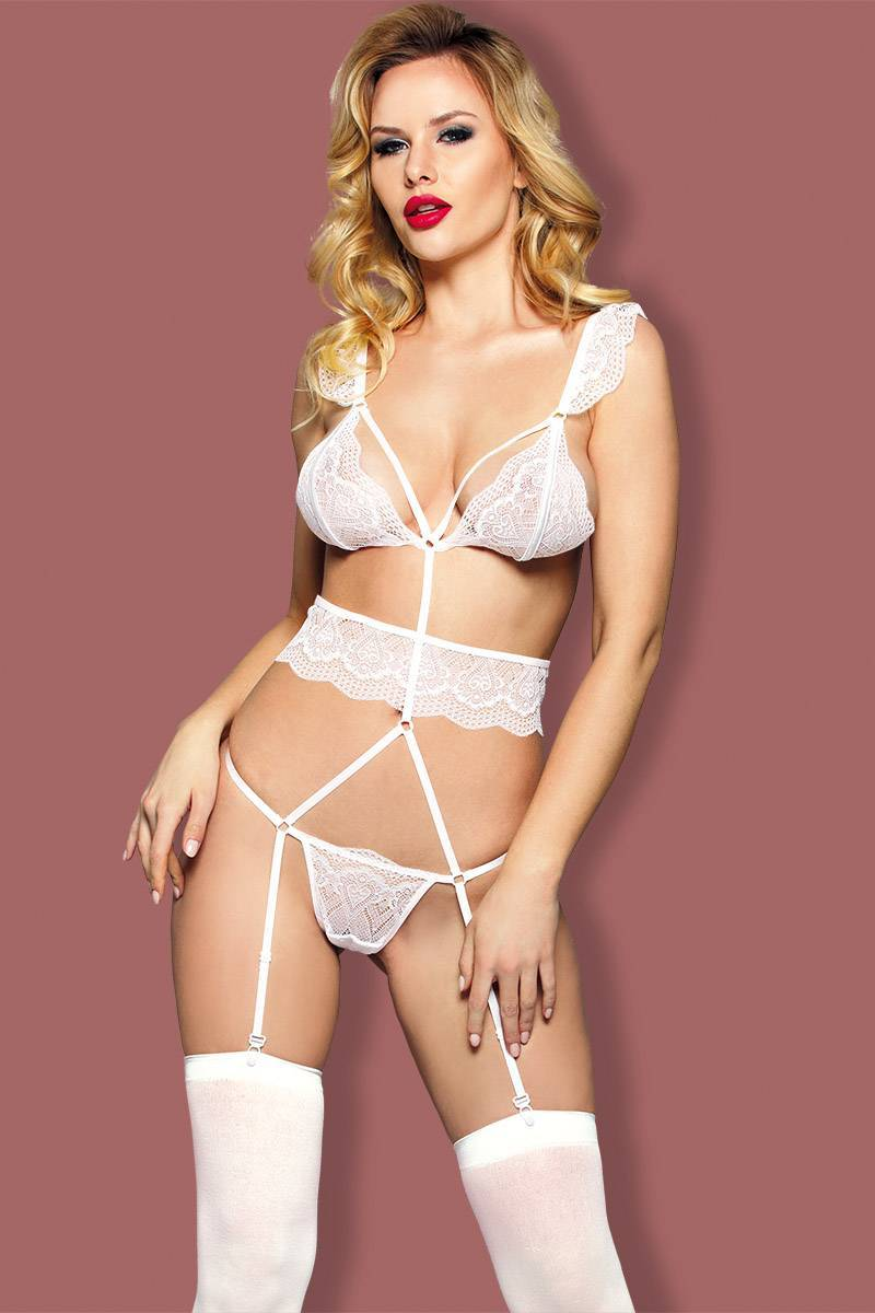 Garter Lingerie Set women white lace adjustable strape hook closed elastic belt linked adjustable suspender teddy lace cincher & stocking H2046 included elegant bridal garter set Sunspice 31108