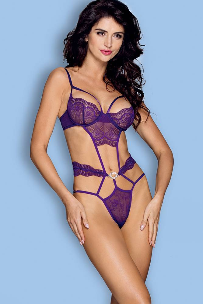 Teddy Lingerie sexy women purple one piece strappy teddy lingerie lace bodysuit features hollow floral lace cup,adjustable shoulder staps,hook & eye back closure,g-string style bottom Sunspcie 10254