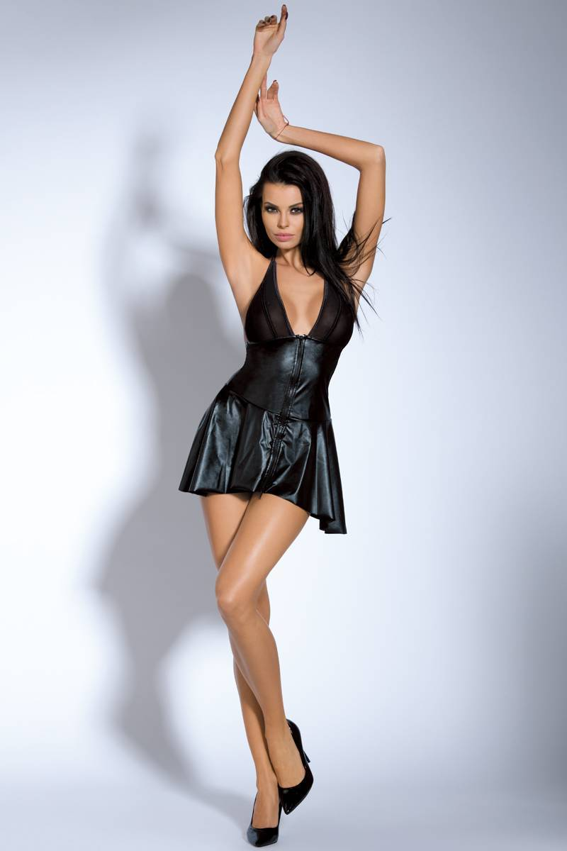 Clubwear women black wet look deep V backless thong intimate club wear dress Sunspice 20170