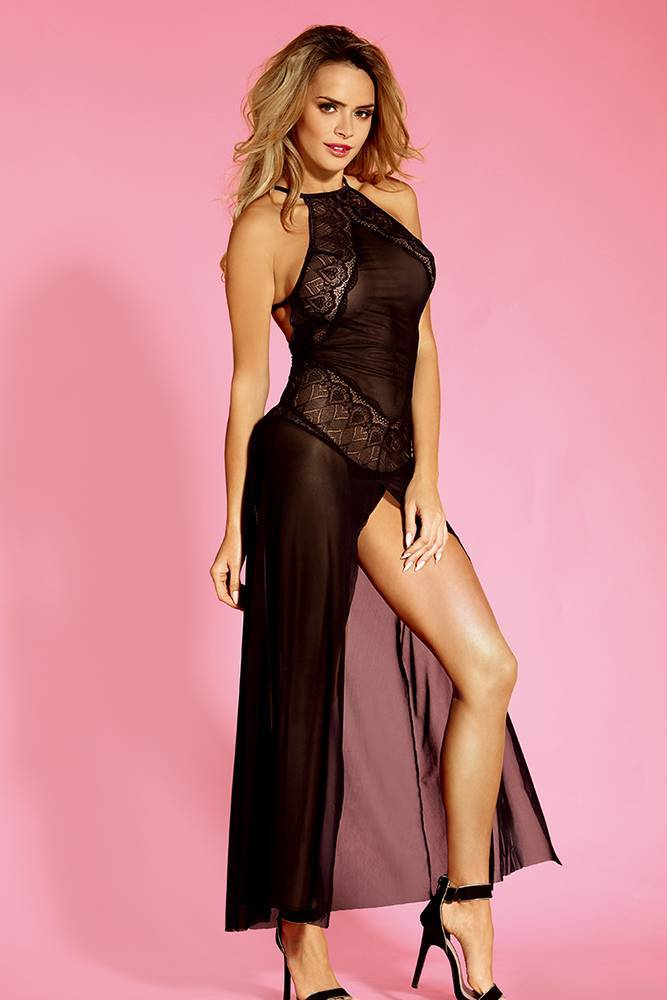 Babydoll Lingerie women sexy sheer black floral mesh  nightgown high split gown long dress with back adjustable cross strap include thong Sunspice 71159