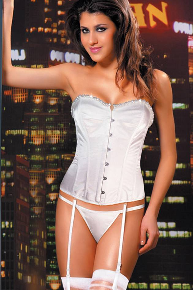 Corset Lingerie women sexy lace up bone bucking corset lingerie with adjustable remover garter belt Sunspice 90725