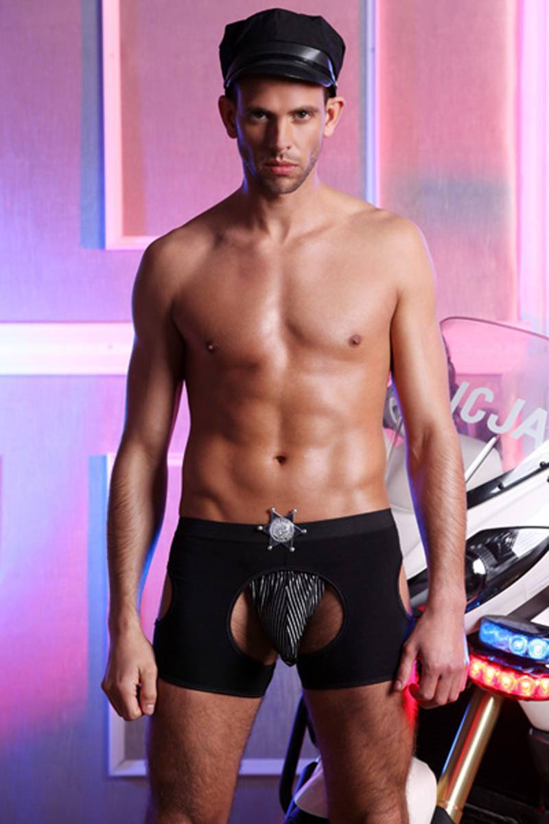 Mens Underwear  Black boxers with badge mooning hat sexy warrior costume Sunspice 8048
