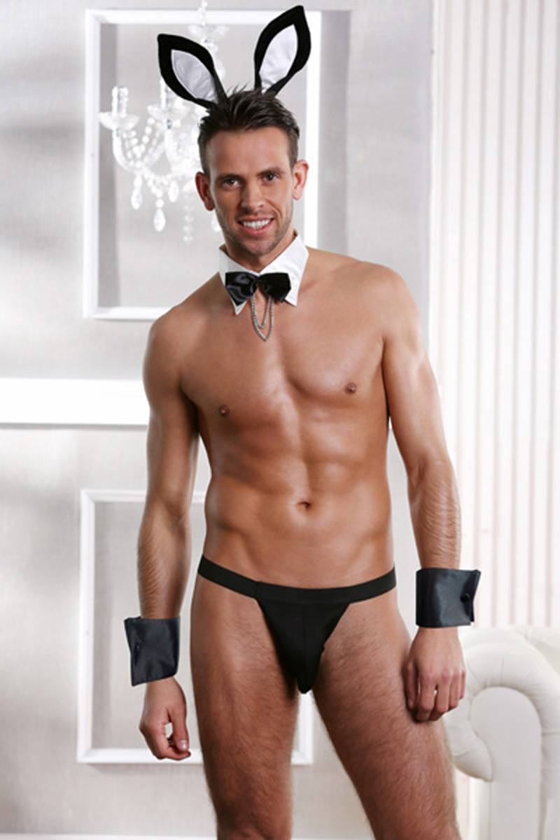 Mens Underwear men black stretch elastane thong collar with bow & chain headpieces and cuffs funny  bulter bunny outfit costume  Sunspice 8053