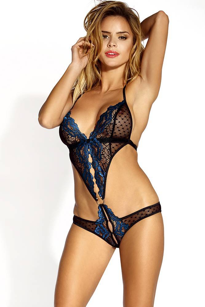 Teddy Lingerie women blue and  black floral lace heart mesh Clasp connected open crotch hook & eye closure backless intimate teddy bodysuit. Sunspice 10237