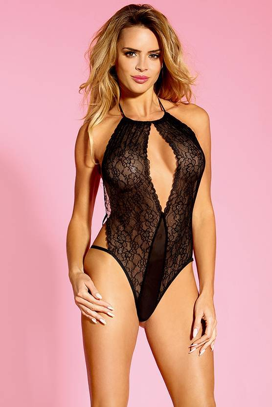 Teddy Lingerie This one piece lace teddy lingerie floral bodysuit features a high neck with an open front keyhole cut-out, sheer scalloped lace panels, a satin bow accent , a adjustable gathered back band Sunspice 10238