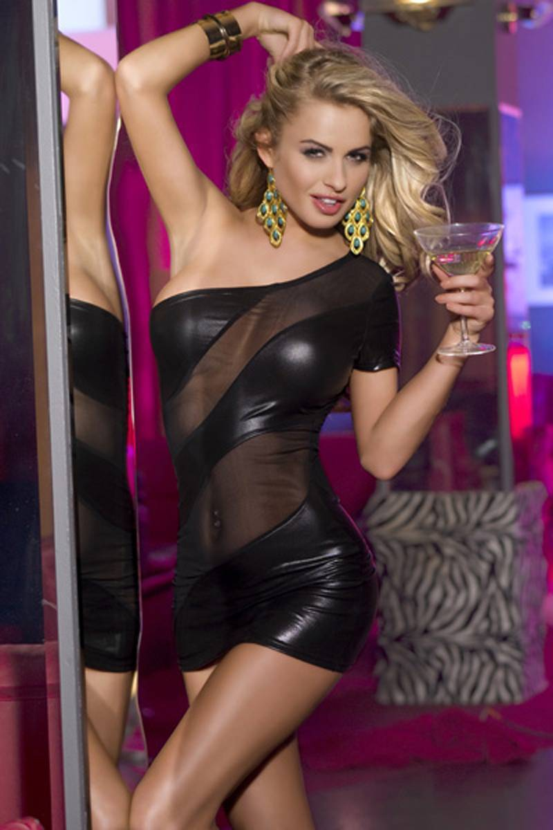 Clubwear women black faux leather bodycon club wear mini party dress features one shoulder,above the knee length,hollow mesh front,simple but generous design. Sunspice 20102