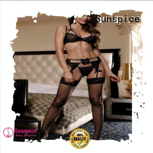 Sunspice 3111031110c garter belt with stockings set suppliers for women