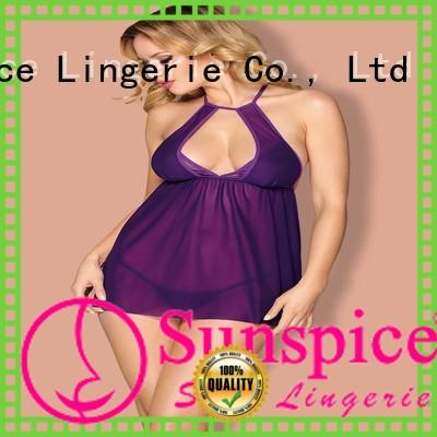 high quality purple babydoll lingerie chose for female
